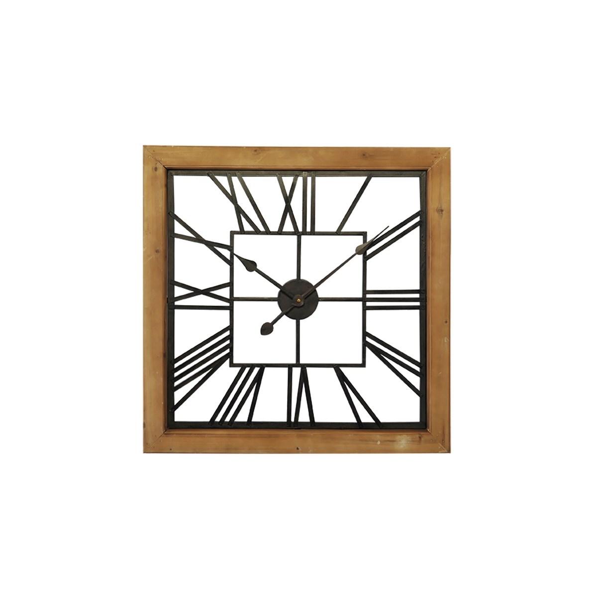 Horloge carré bois et métal ajouré en Bois Noir