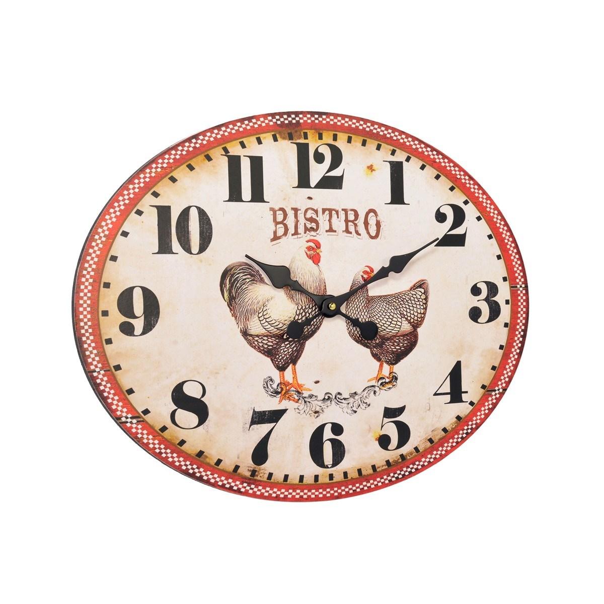 Horloge ovale Poules en Métal Rouge