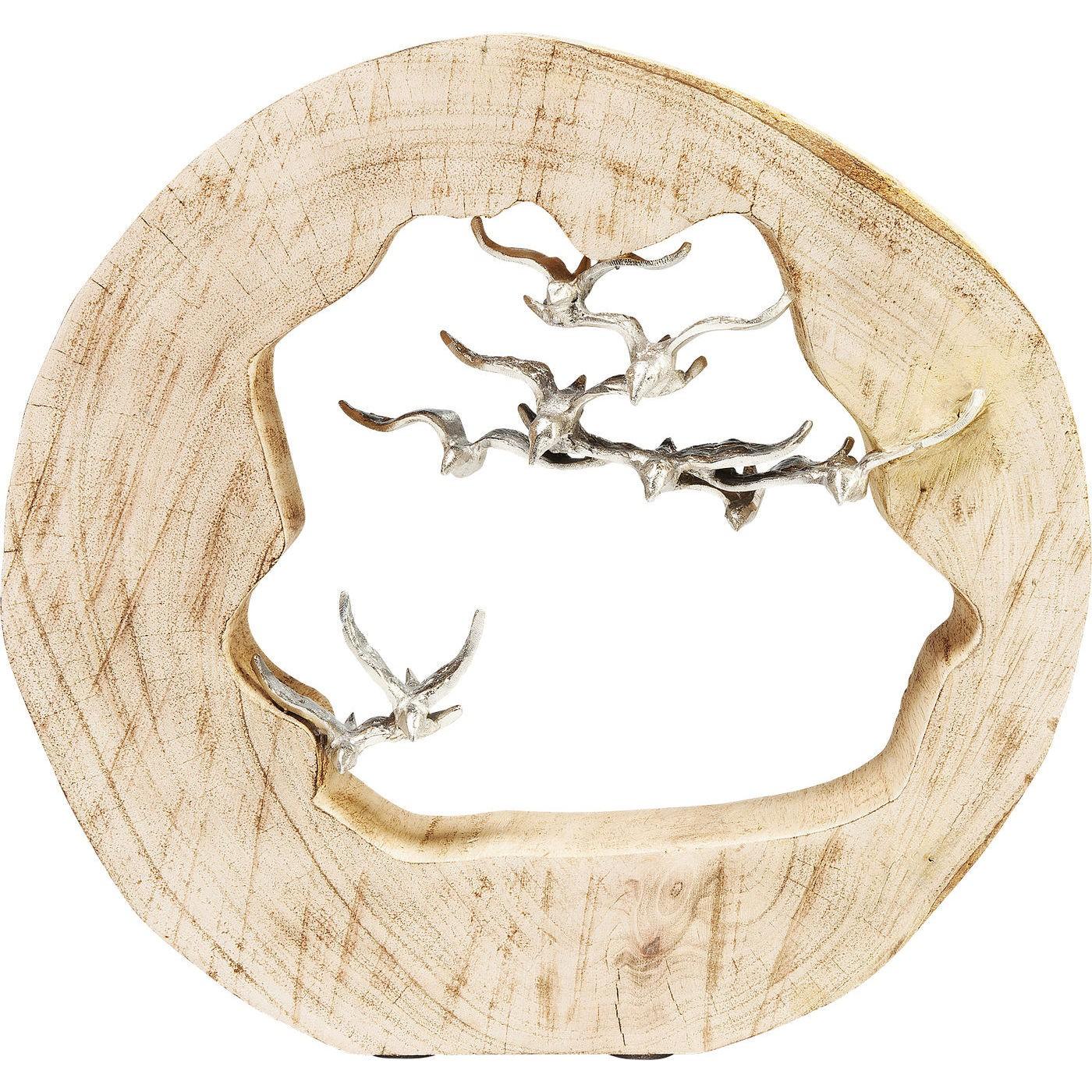 Statuette souche oiseaux en bois et aluminium