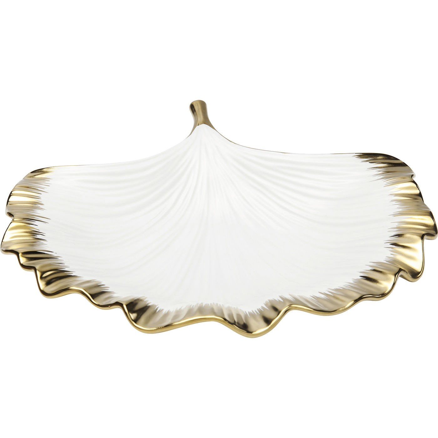 Coupe feuille de ginkgo en porcelaine blanche et dorée