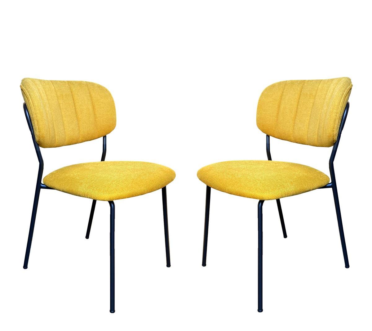 2 Chaises de repas tissu jaune