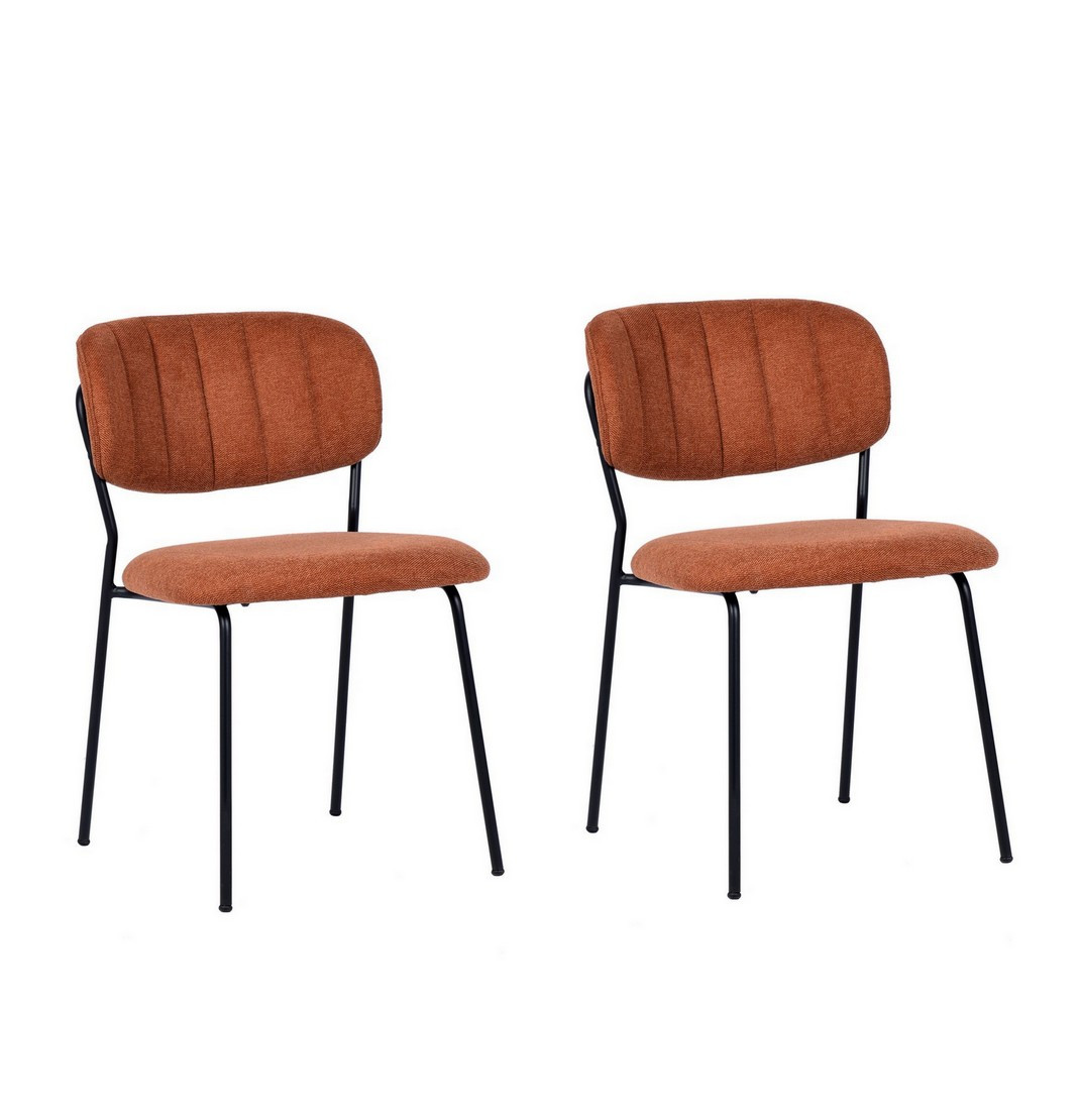 2 Chaises de repas tissu orange