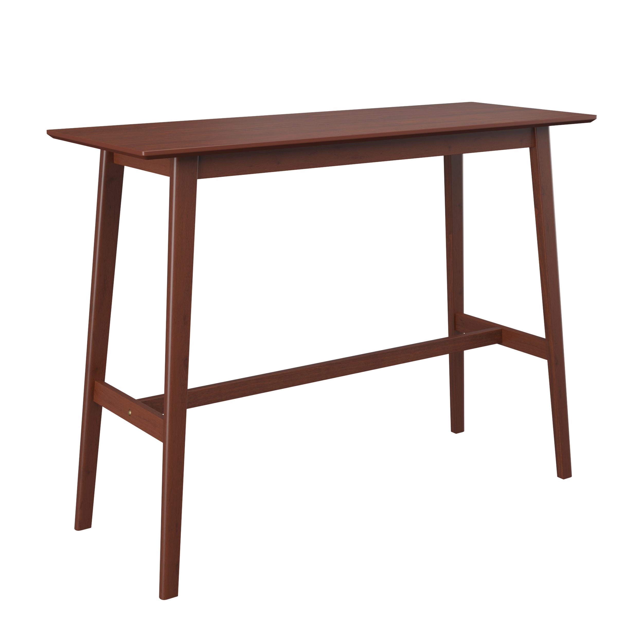 Table de bar rectangulaire en bois foncé, 4 personnes