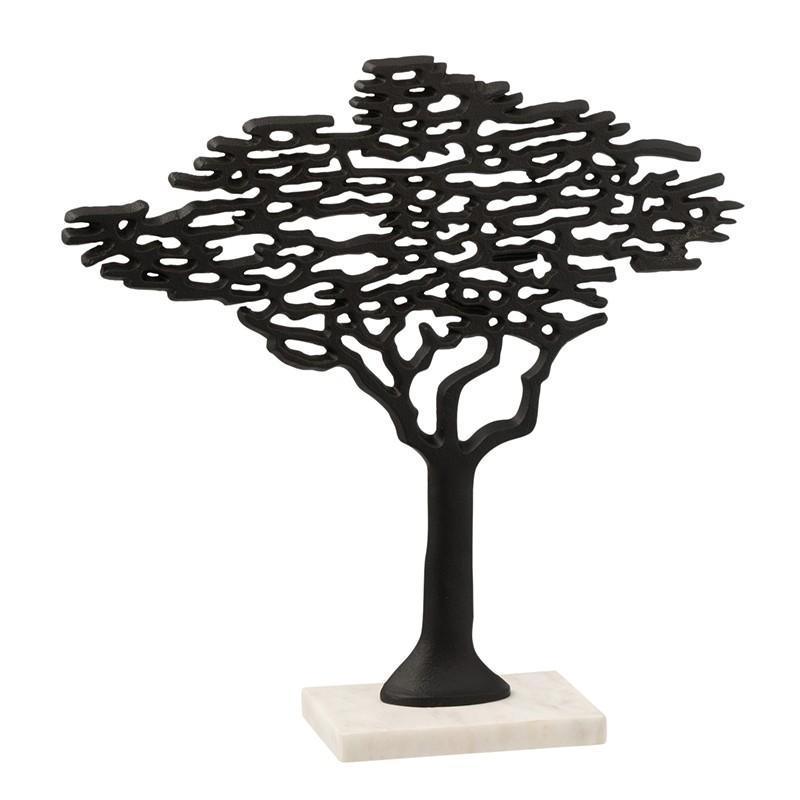 Arbre alu noir pied marbre blanc H56cm
