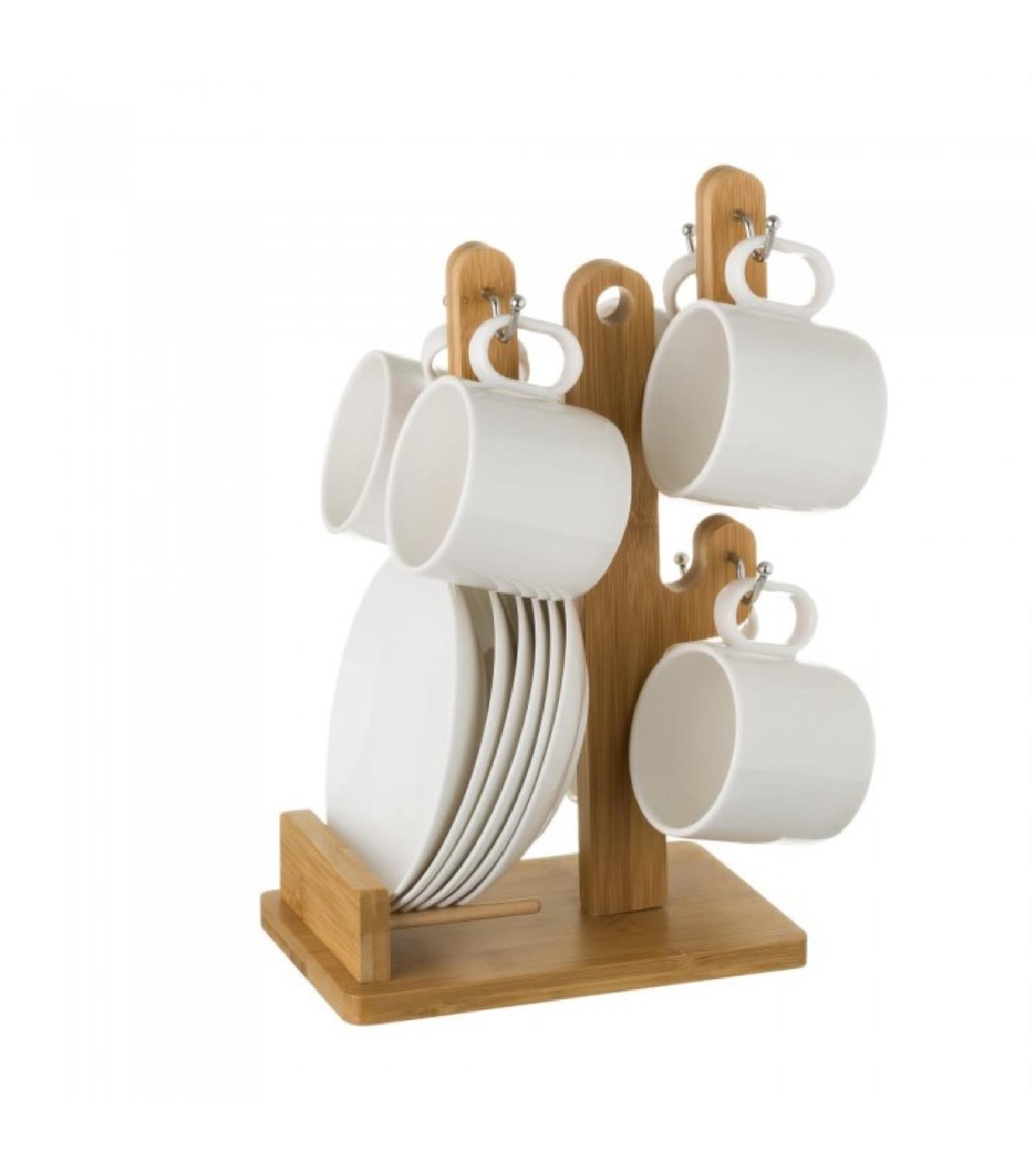Tasses avec dessous de tasses en porcelaine blanche - Lot de 6