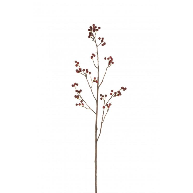 Branche baies fines plastique rouge/vert H132cm