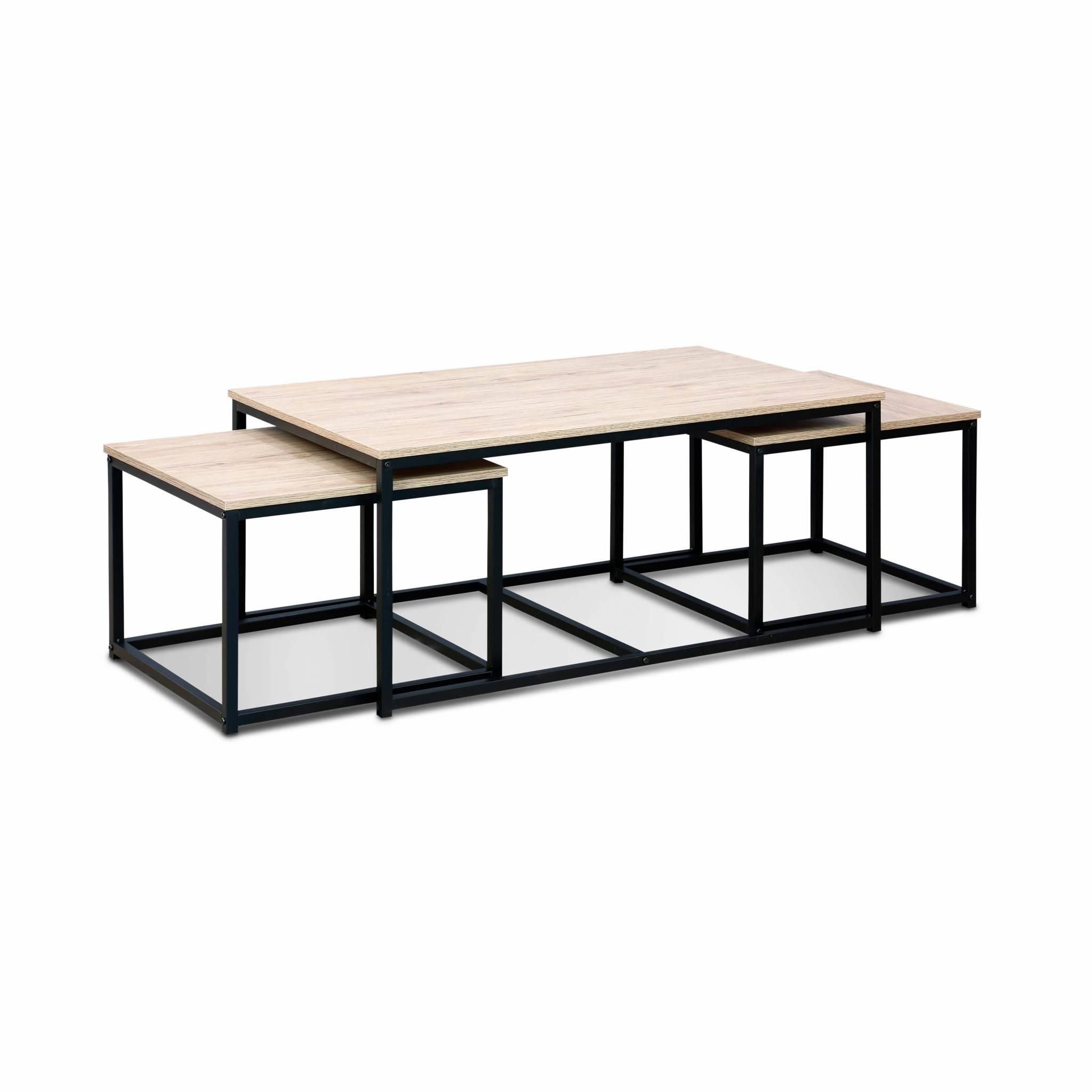 Lot de 3 tables gigognes métal noir et bois