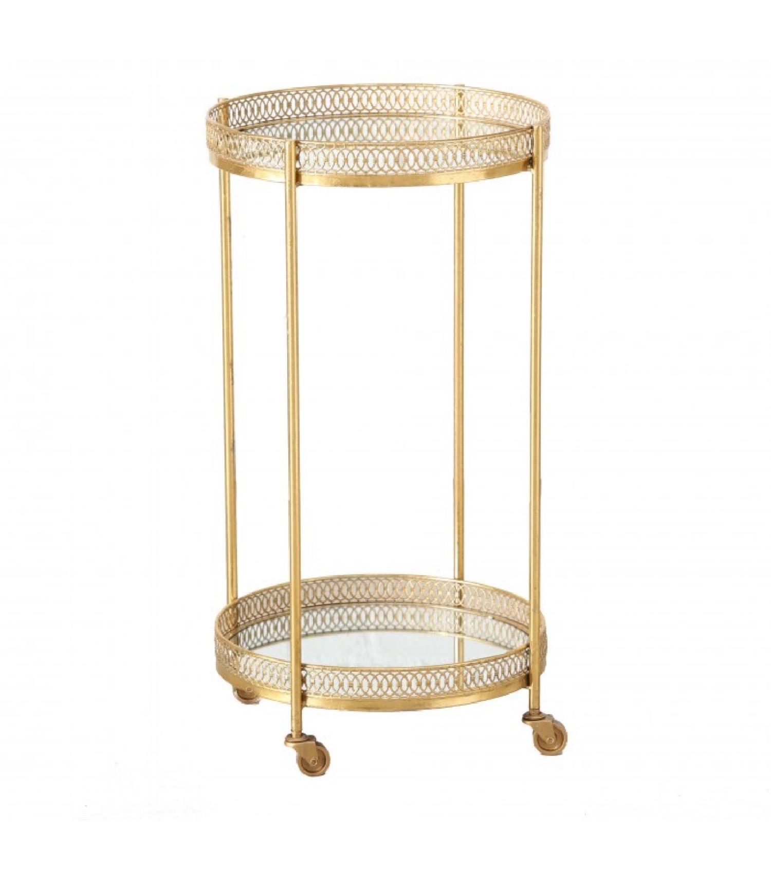 Desserte ronde apéritif salon en métal doré et plateaux miroirs