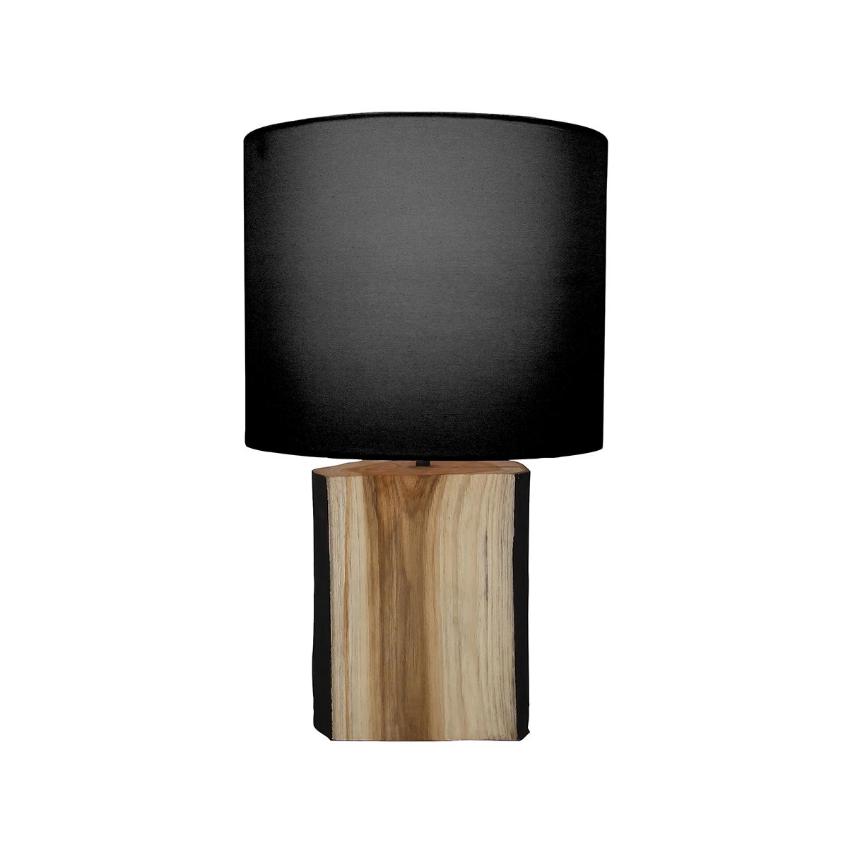 Lampe à poser en bois de suar abat-jour noir