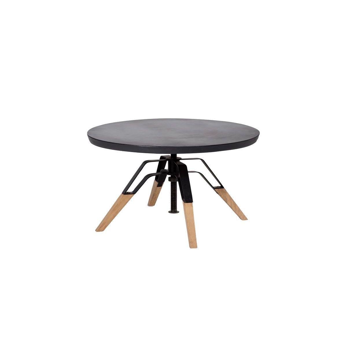 Table d'appoint en béton noir et pied en chêne
