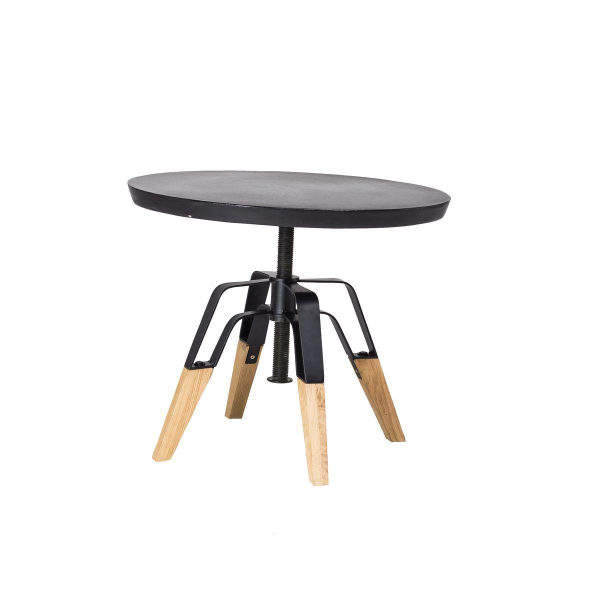 Table d'appoint en béton noir pied en chêne