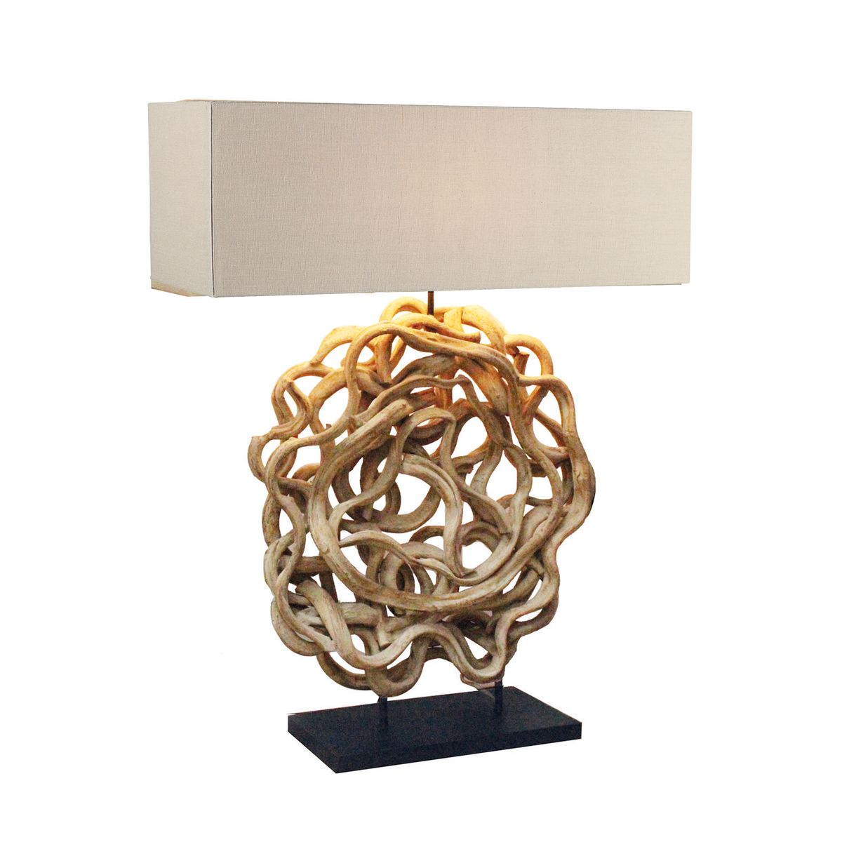 Lampe à poser en bois de bauhinia abat-jour en lin