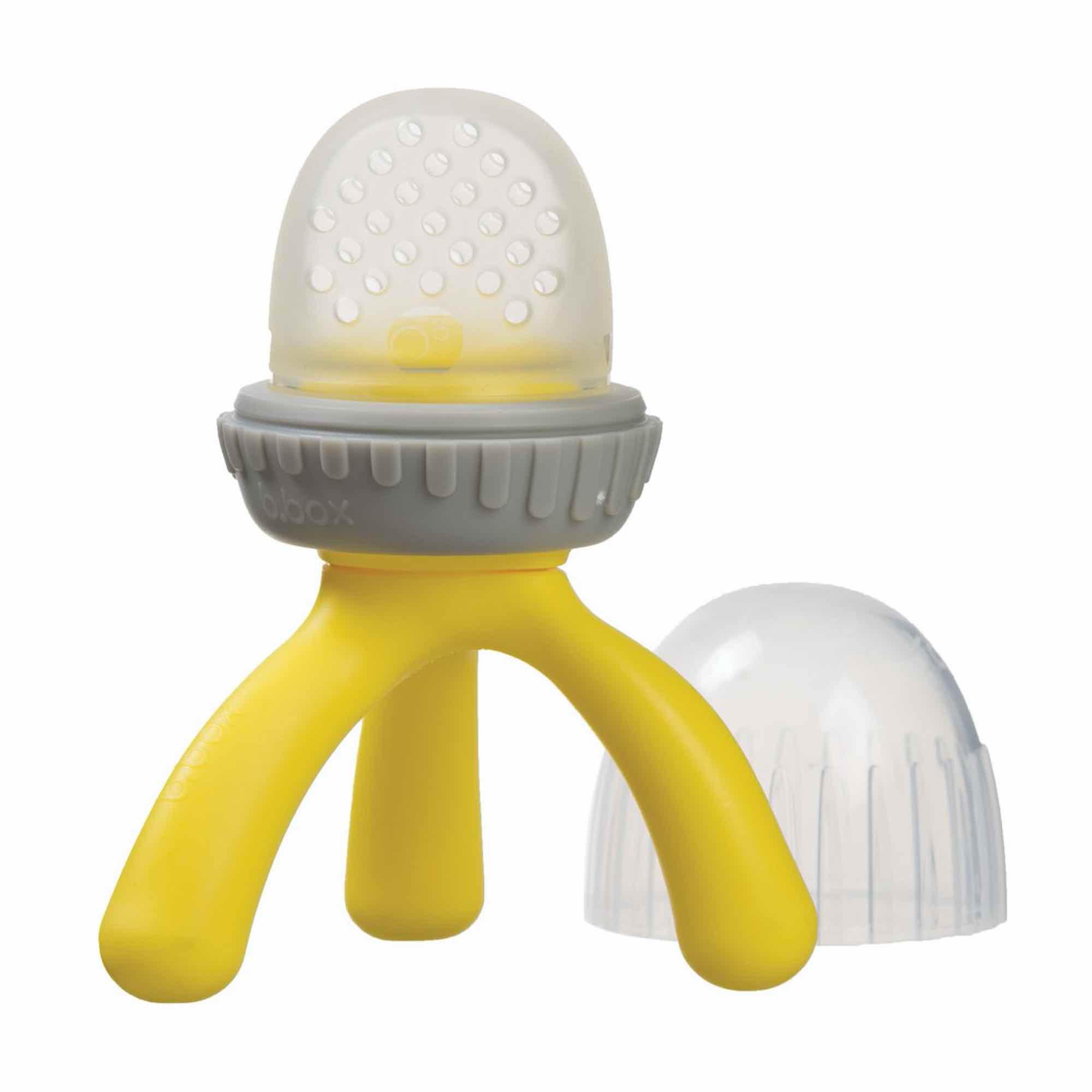 Sucette grignoteuse bébé en silicone jaune
