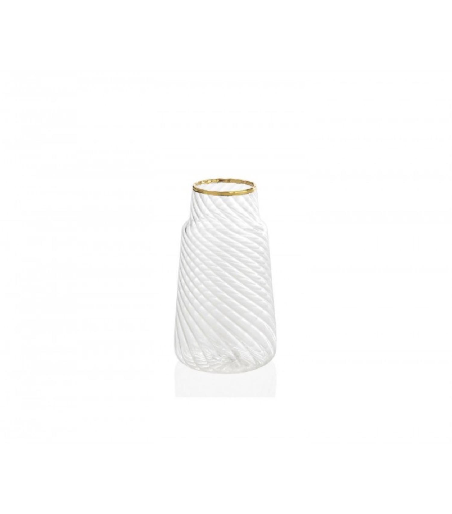 Mini vase en verre strié et doré H10,5cm