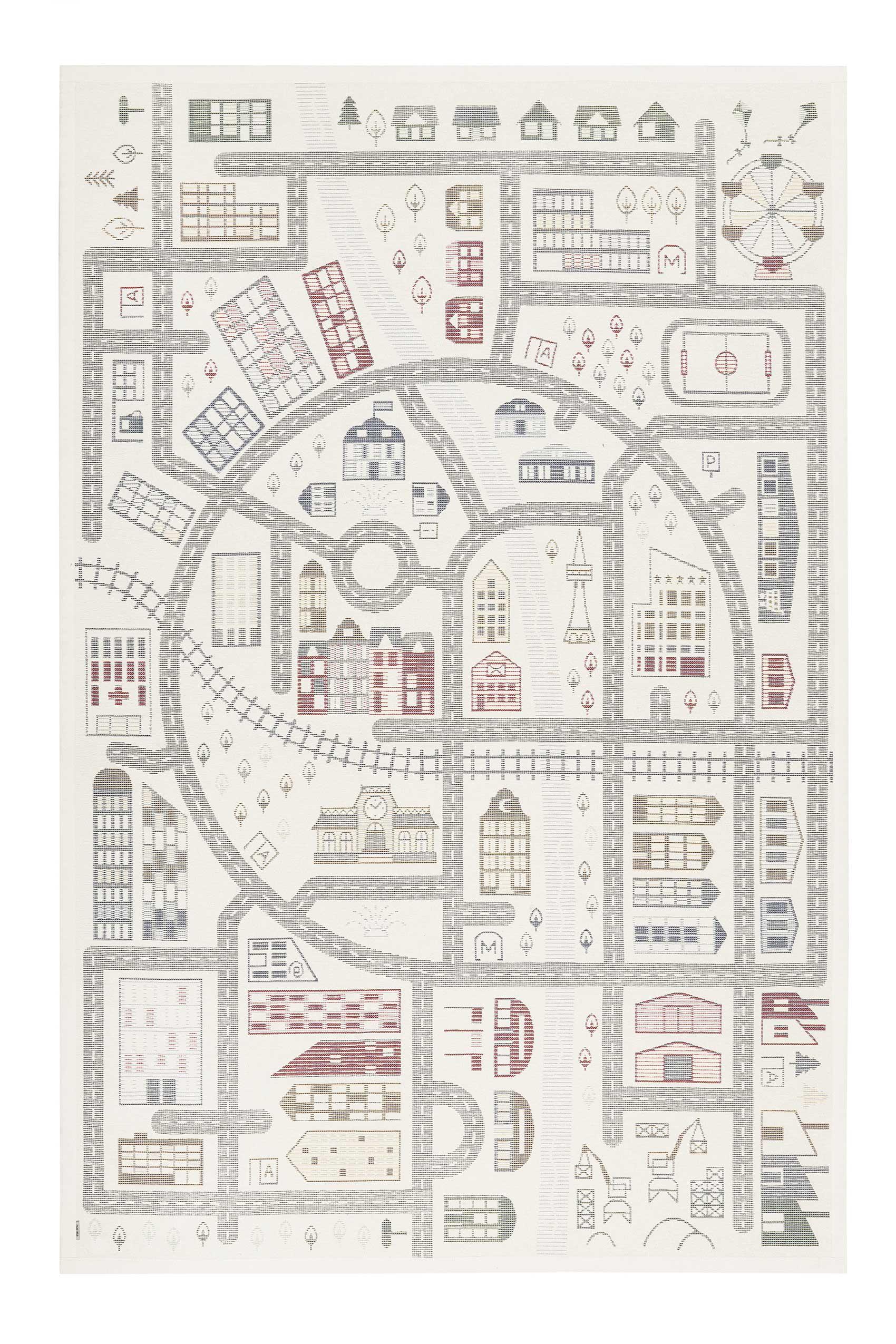 Tapis enfant plat réversible motif forêt ou ville 140x200
