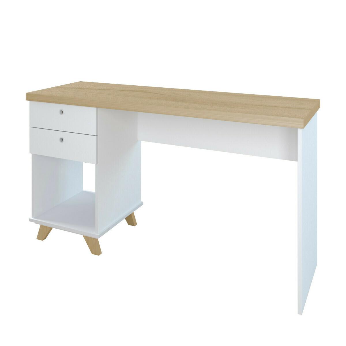 Bureau 2 tiroirs Panneaux de bois  Blanc, bois