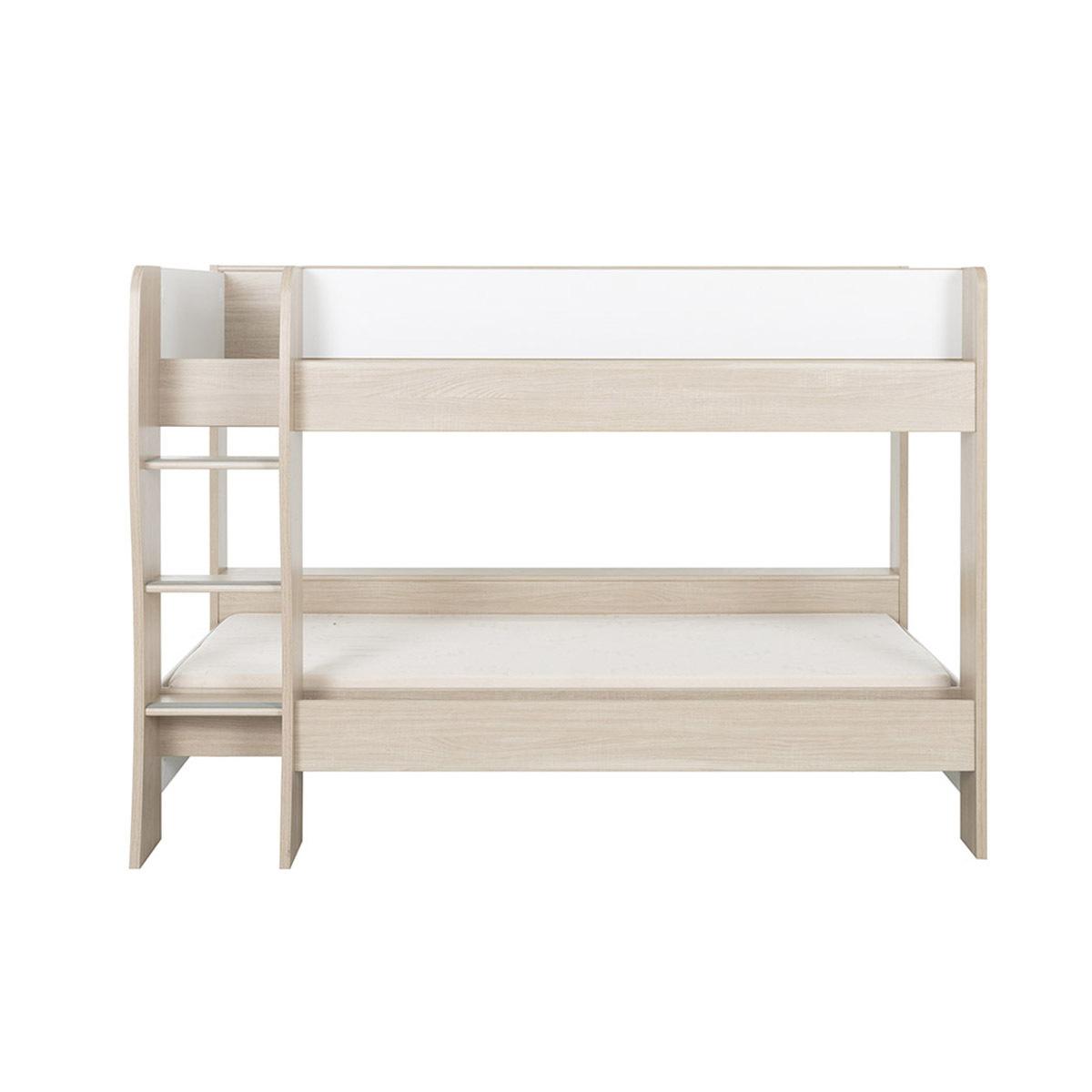 Lit superposé, 2 matelas Panneaux de bois 90x200 Blanc, bois