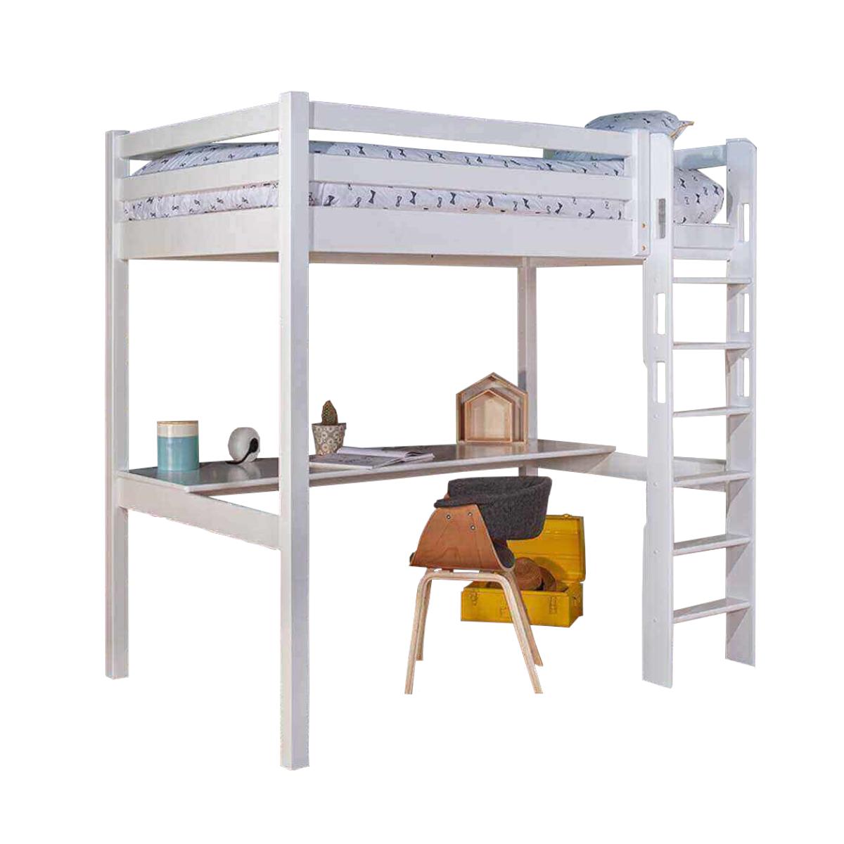 Lit mezzanine, bureau Bois massif 90x190 Blanc