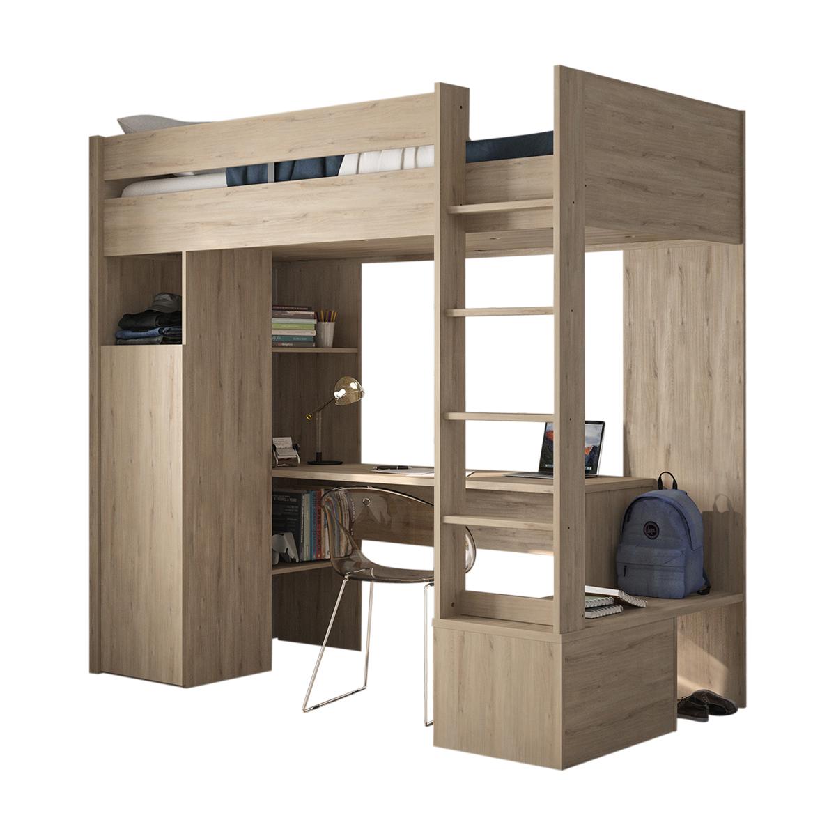 Lit mezzanine Panneaux de bois 90×200 Bois