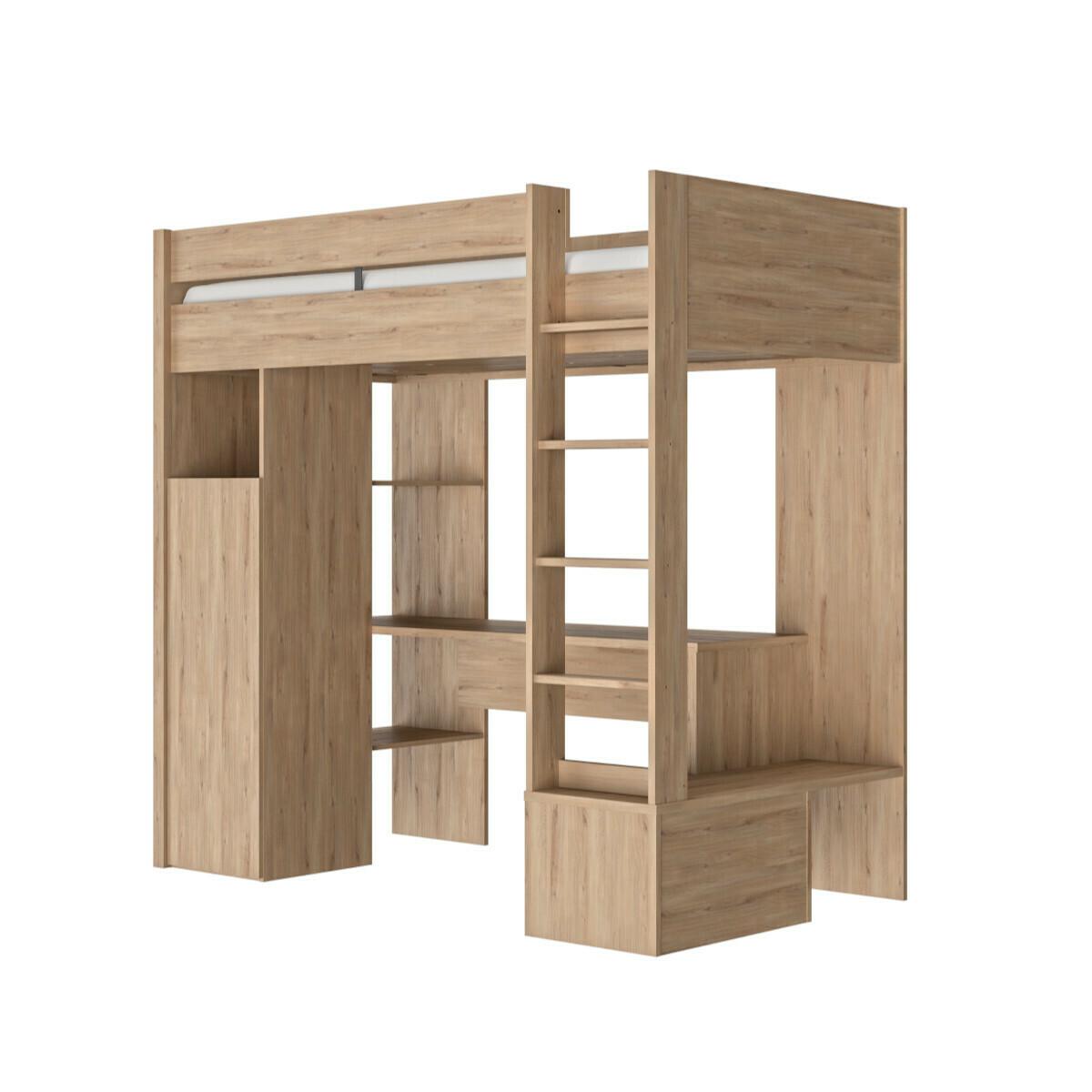 Lit mezzanine, matelas Panneaux de bois 90×200 Bois