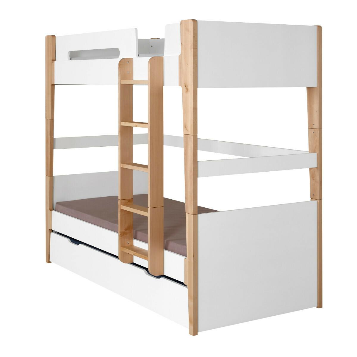 Lit superposé modulable gigogne Bois massif, MDF 90x190 Blanc, bois