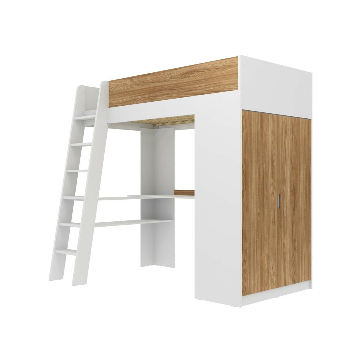 Lit mezzanine combiné Panneaux de bois 90x190 Blanc, bois