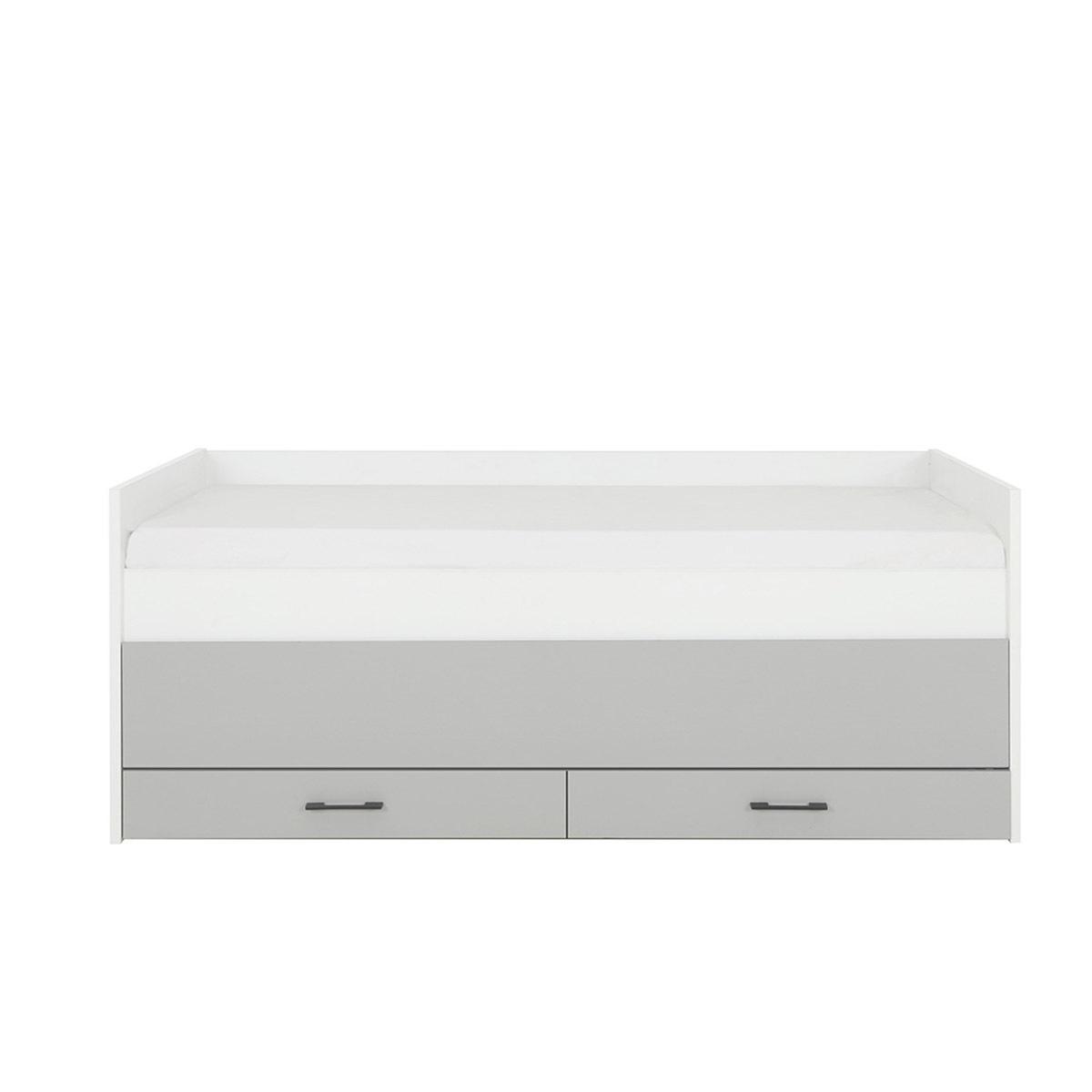 Lit gigogne, rangements Panneaux de bois 90x200 Blanc, gris clair