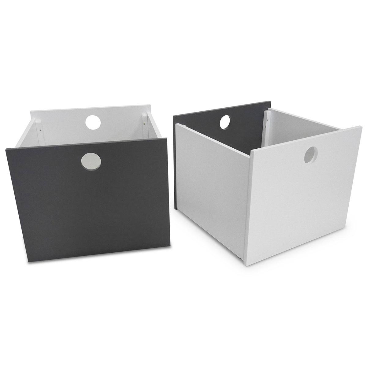 Set de 2 cubes de rangement à roulettes Panneaux de bois Blanc