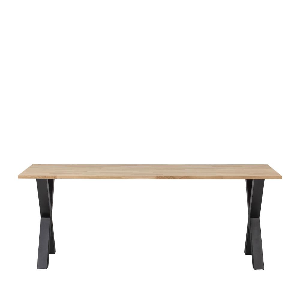 Table à manger en bois piétement en X 200x90cm naturel