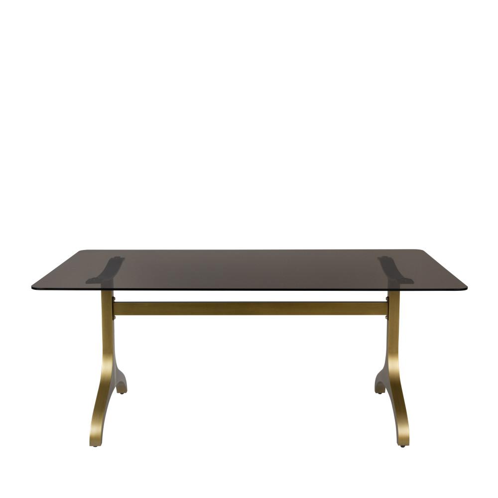 Table à manger en métal et verre trempé 180x90cm noir  et  or
