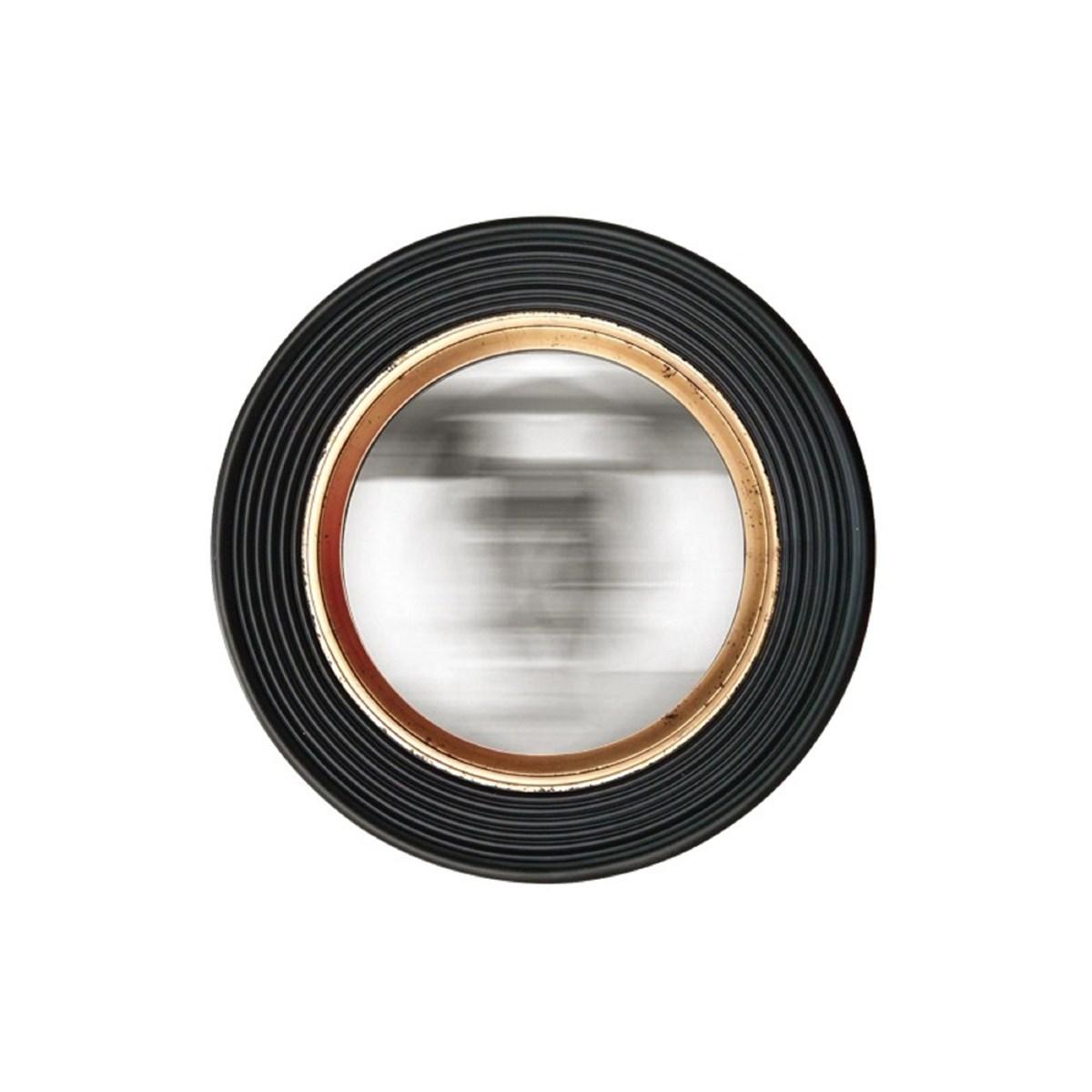 Miroir convexe noir et doré 38 cm en Résine Noir