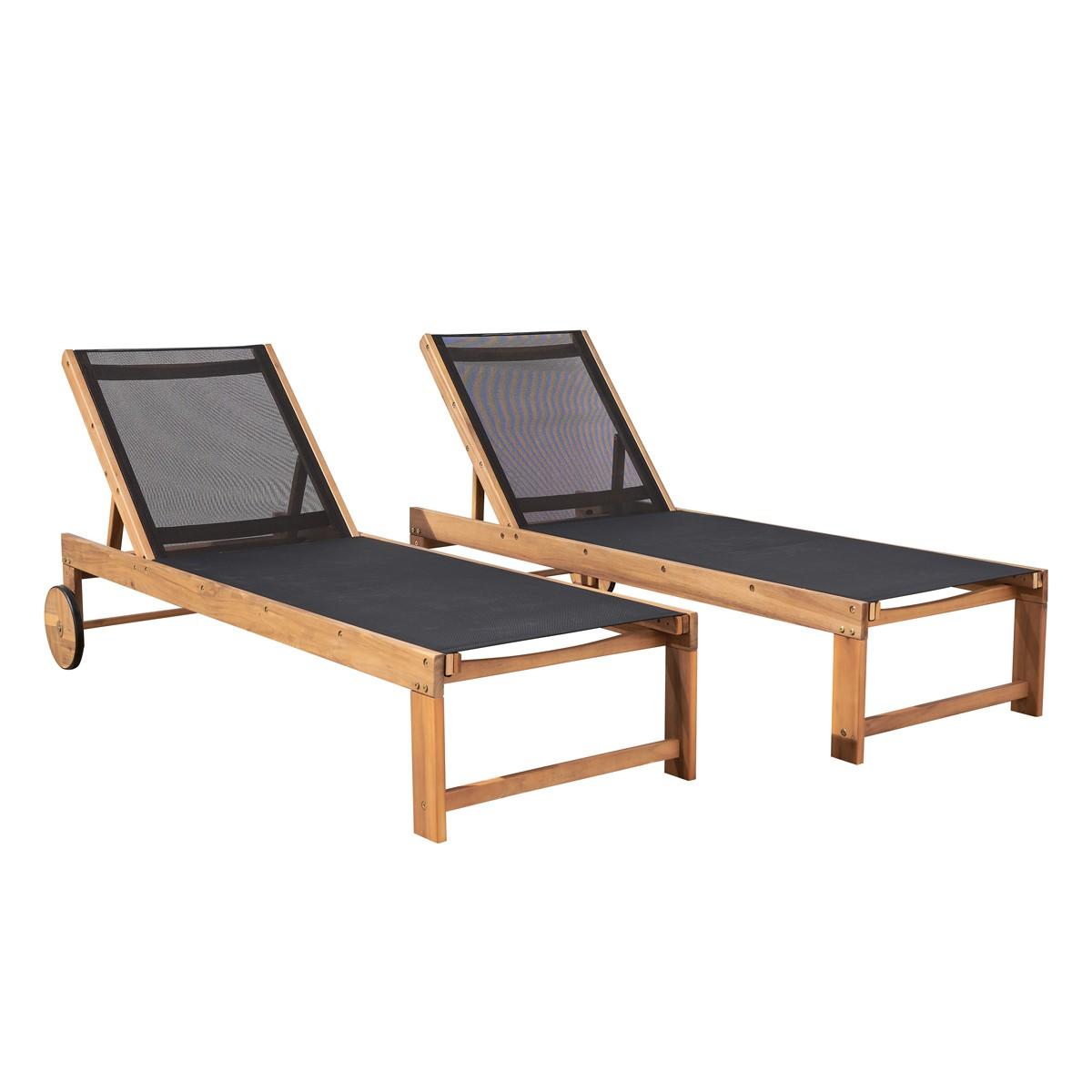 2 bains de soleil en acacia et textilène noir