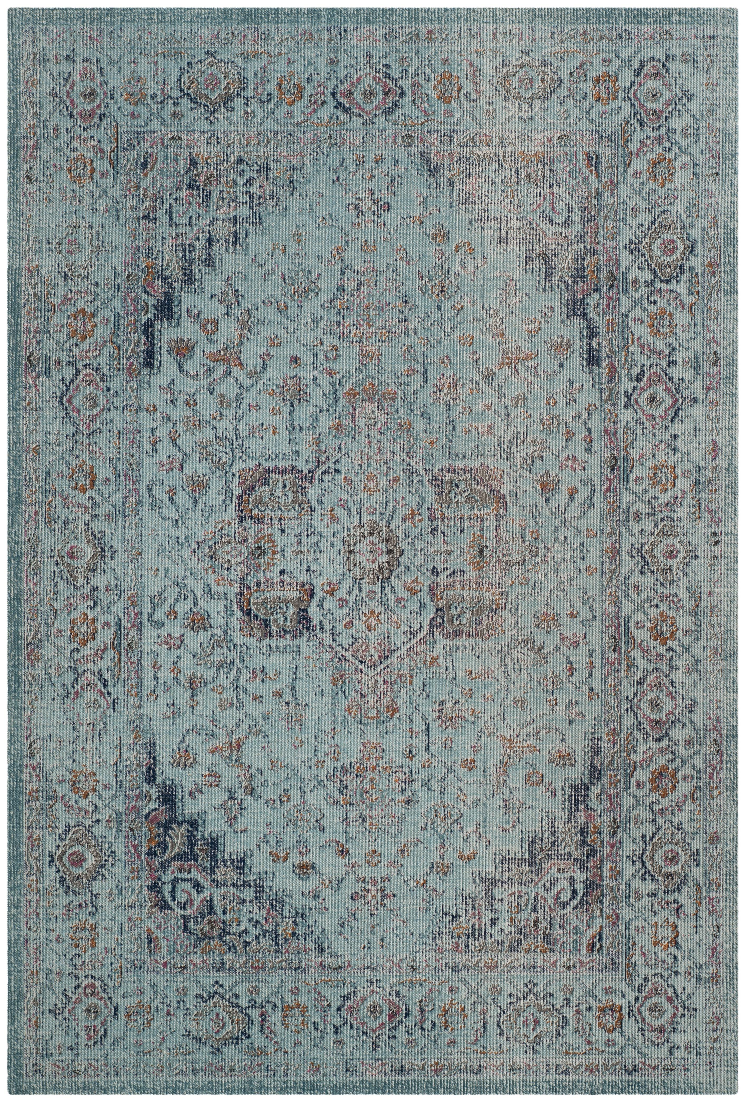 Tapis de salon d'inspiration vintage bleu clair 200x300