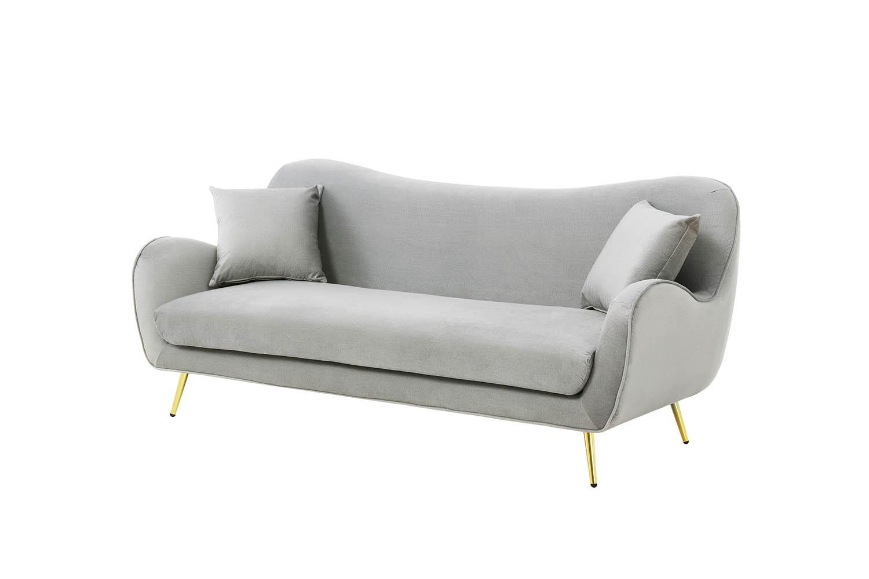 Canapé fixe 3 places Gris Tissu Moderne Confort