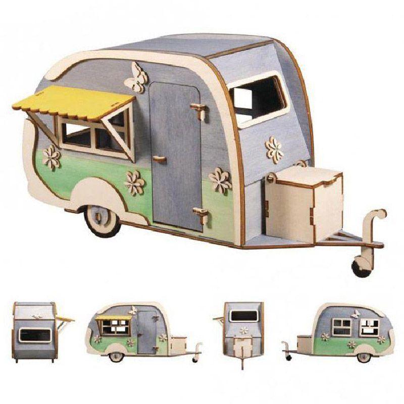 Maquette en bois 3D caravane à customiser