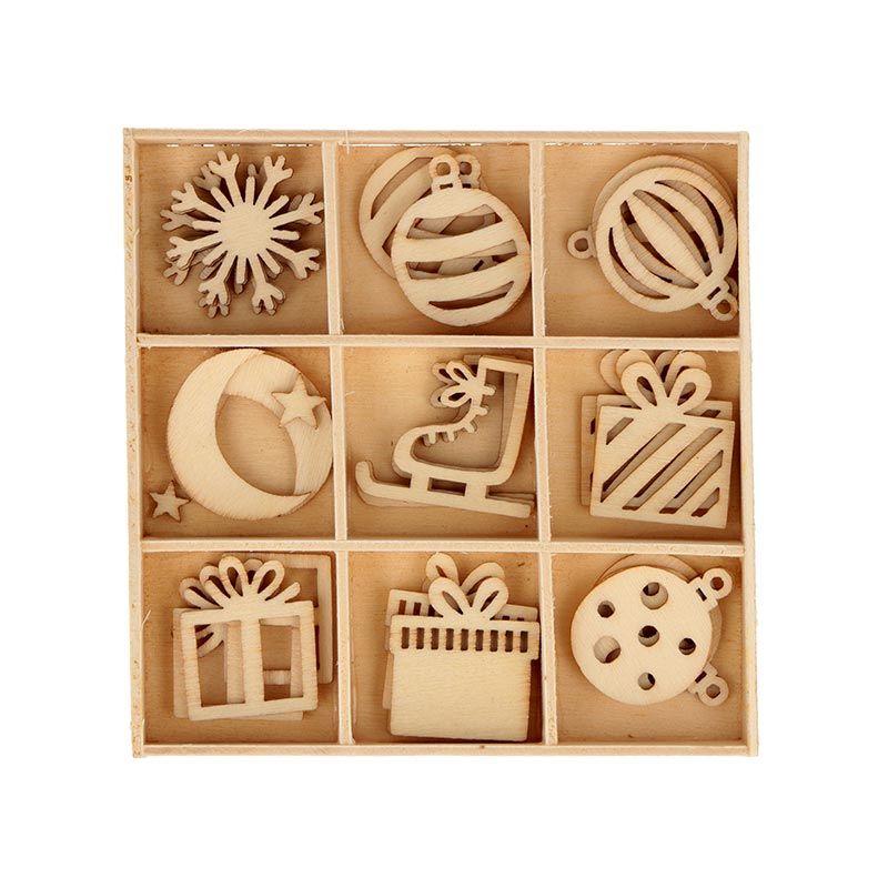 27 mini décorations en bois cadeau de Noël
