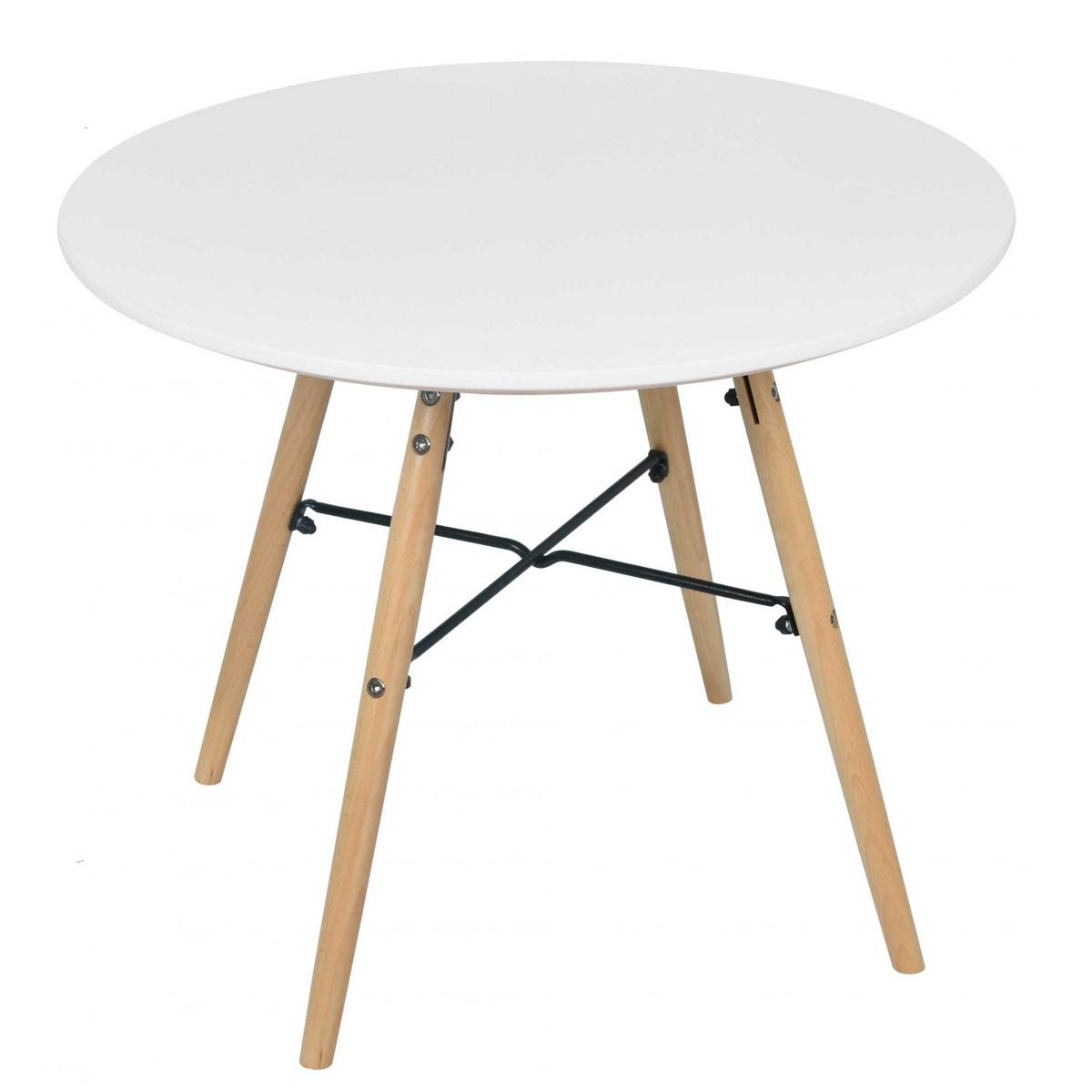 Table enfant ronde bois blanc