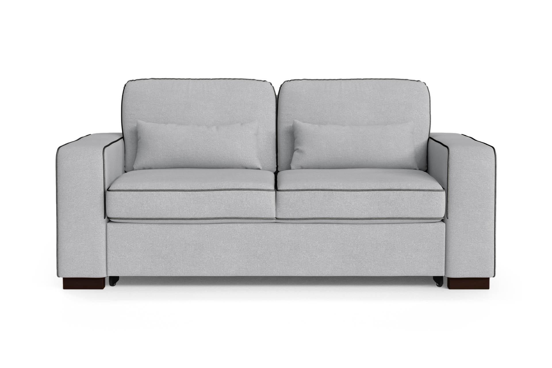 Canapé convertible 2 places toucher coton gris clair/anthracite