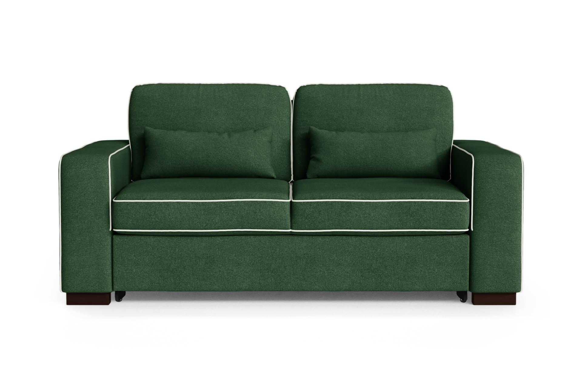 Canapé convertible 2 places toucher coton vert bouteuille/gris clair