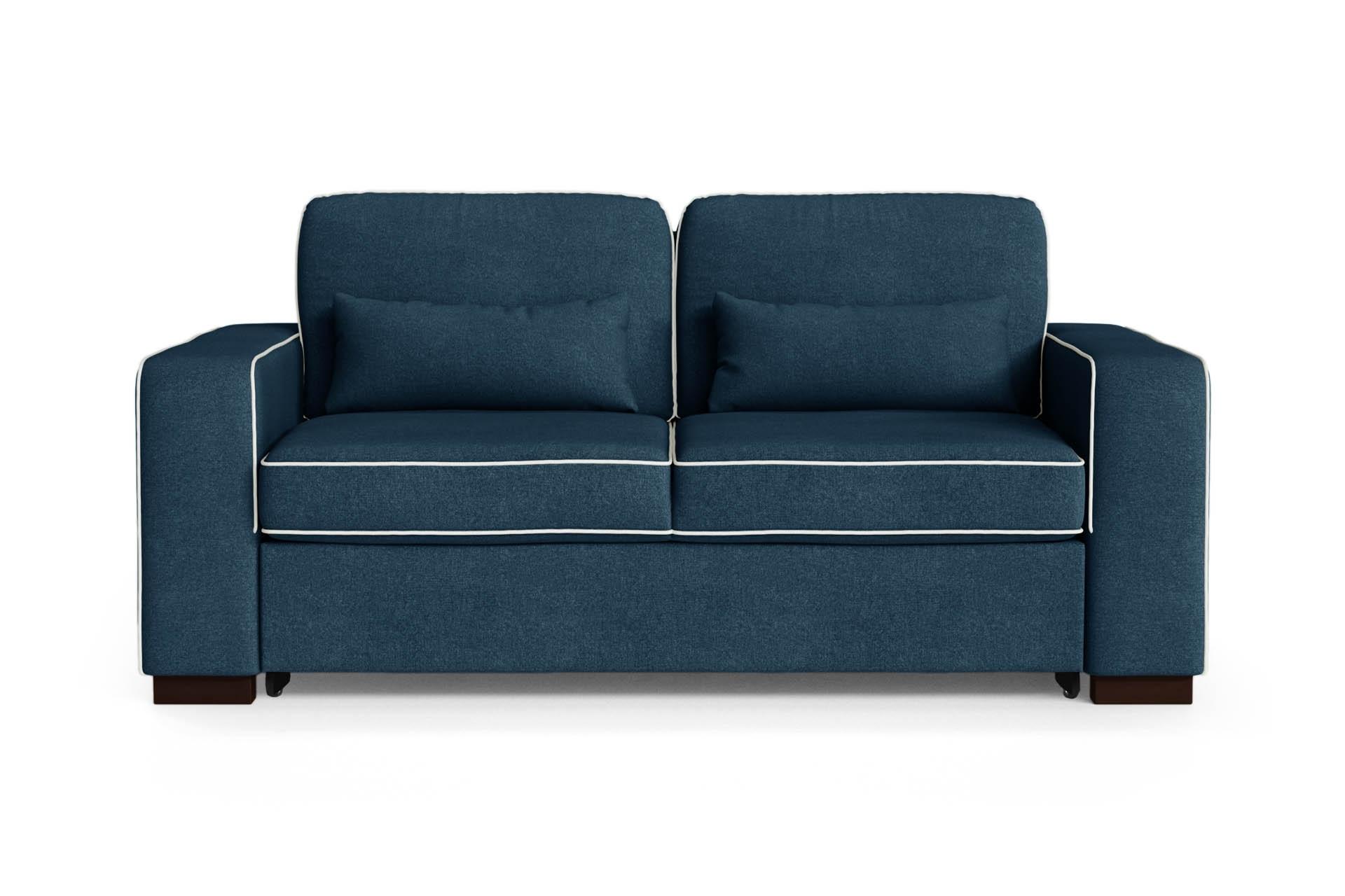 Canapé convertible 2 places toucher coton bleu/gris clair