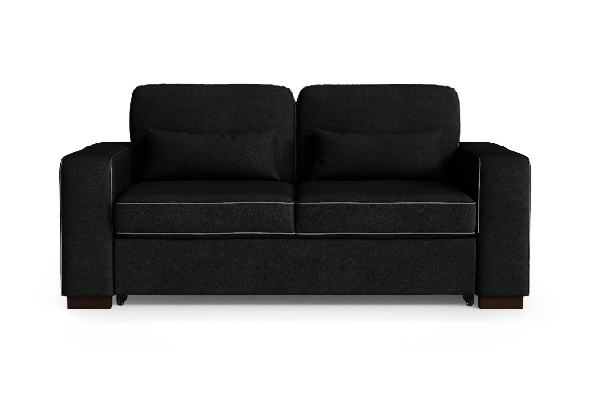 Canapé convertible 2 places toucher coton noir/anthracite