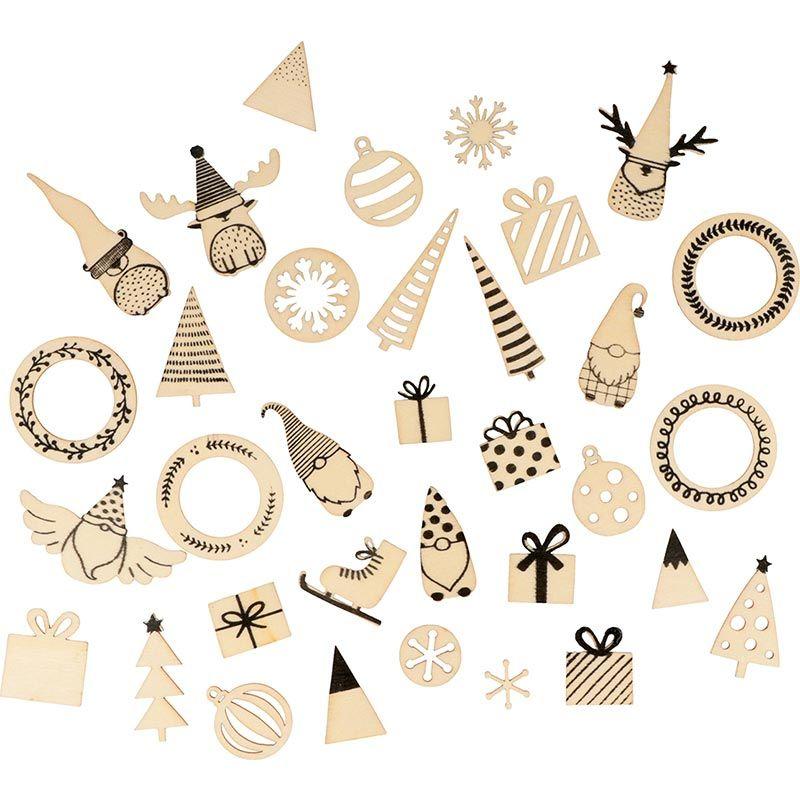 34 mini décorations en bois esprit de Noël
