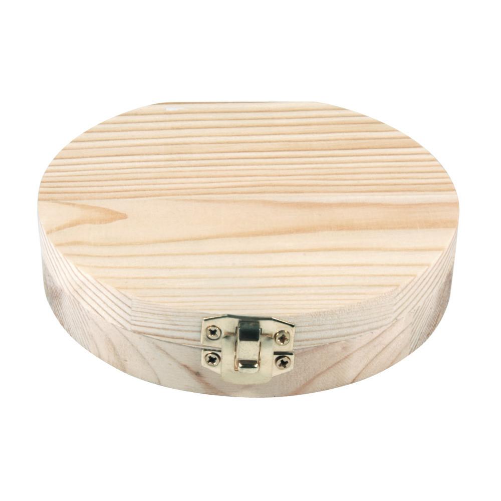 Boîte pour dents de lait en bois brut D12x2,7cm