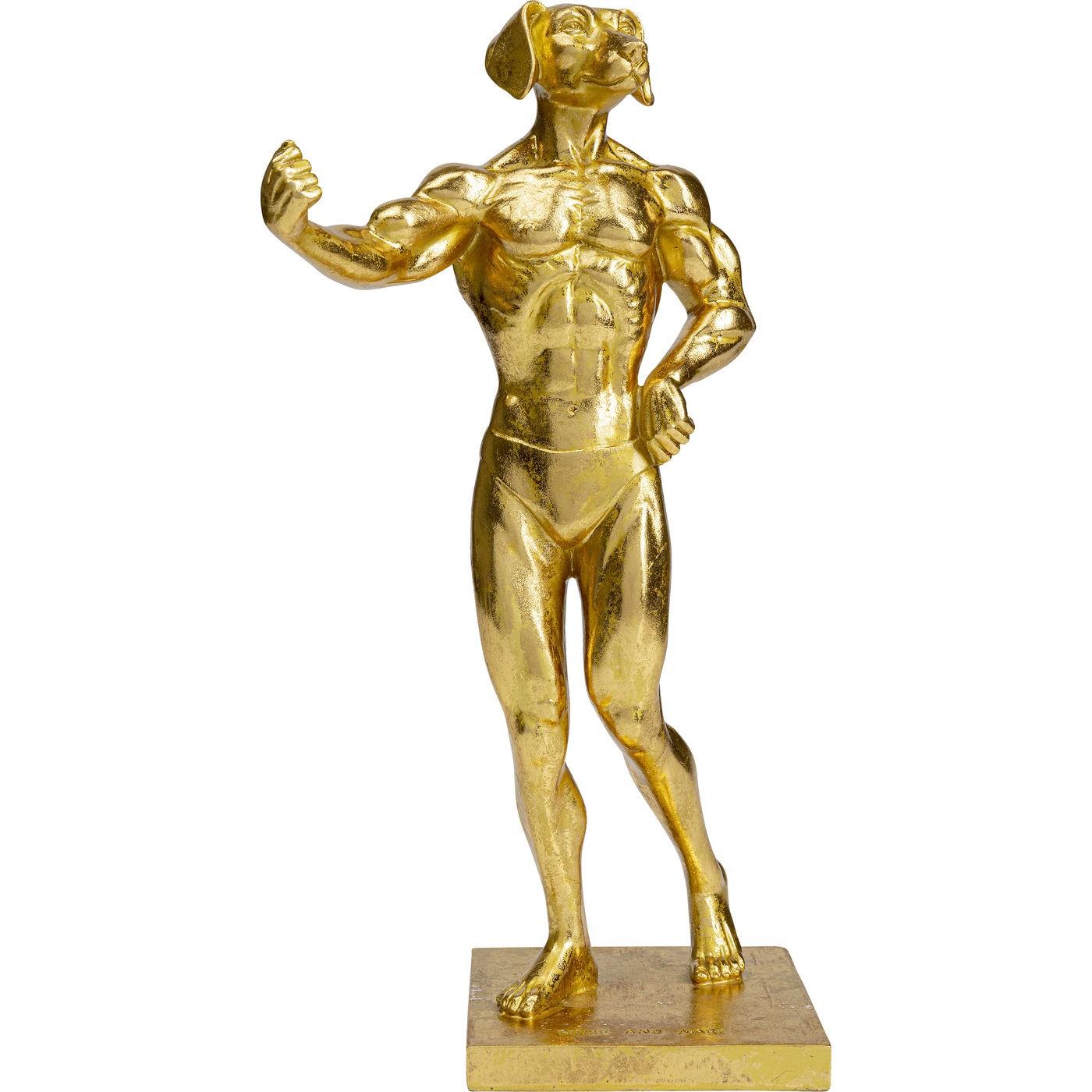 Statuette chien musclé en polyrésine dorée