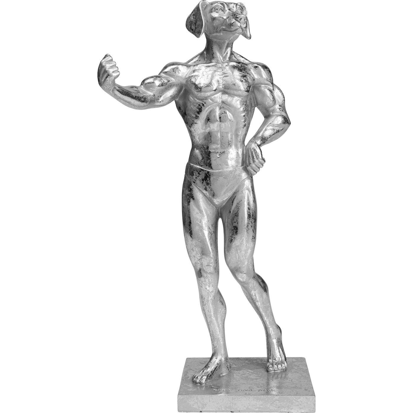 Statuette chien musclé en polyrésine argentée
