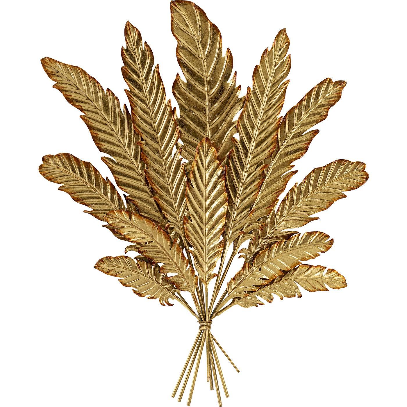 Déco murale feuilles en acier doré