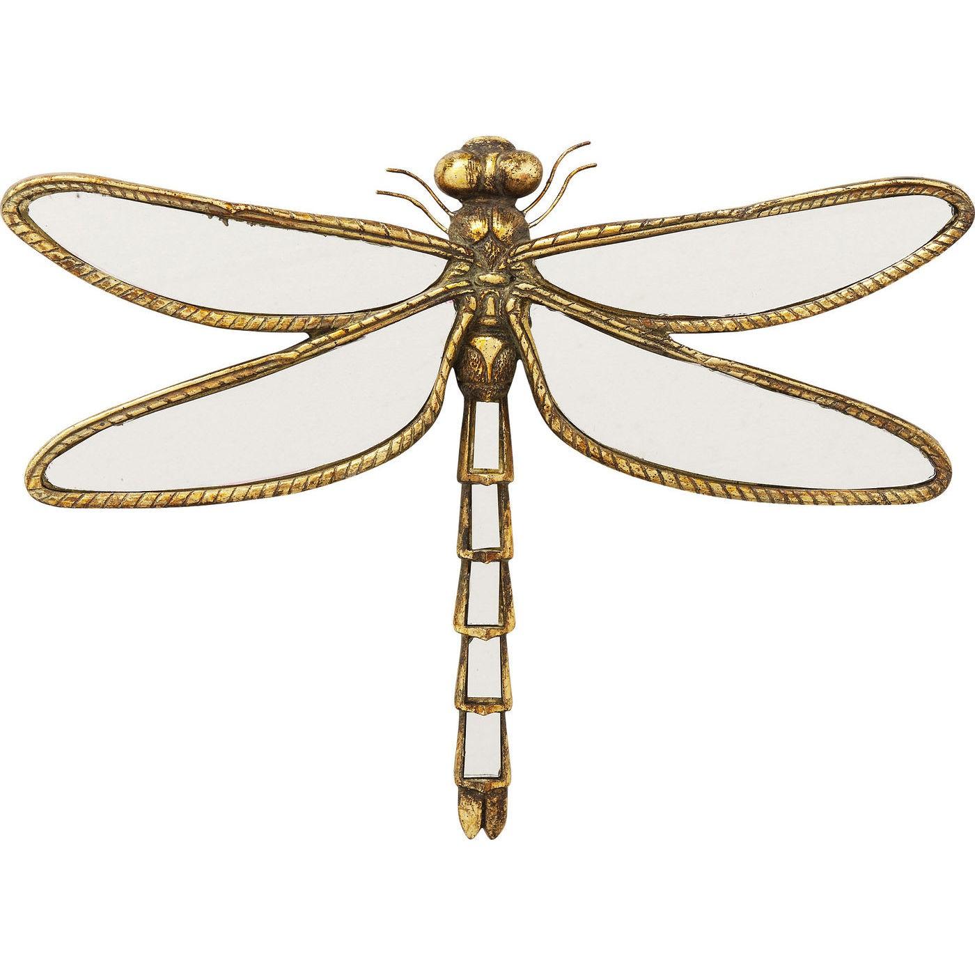 Déco murale libellule dorée en verre miroir 35x27