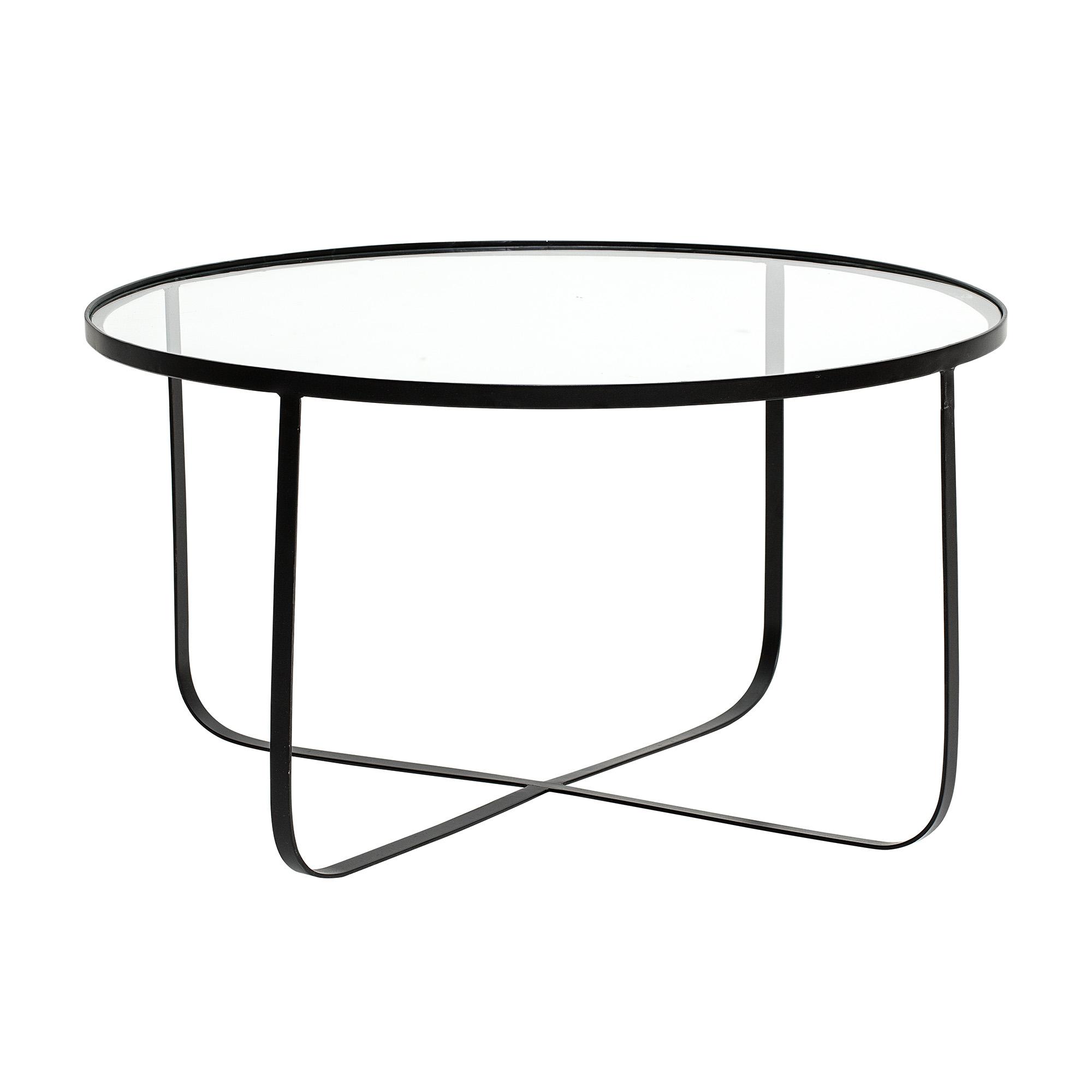 Table Zara fer et verre D80cm