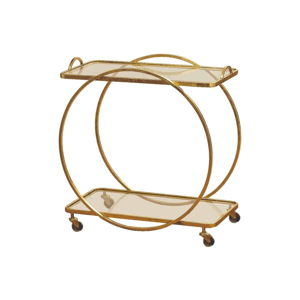 Table roulante rectangulaire décorative en métal doré