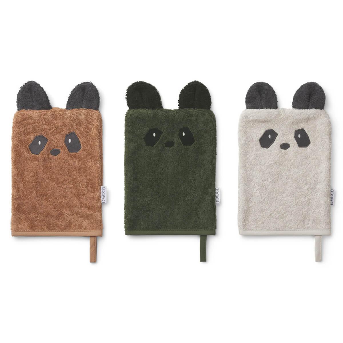 3 gants de toilette sylvester panda mix